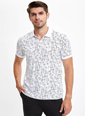 DeFacto Geometrik Desenli Polo Yaka Slim Fit Tişört